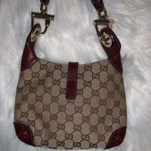 8e8c9becb30 Gucci Bags - Gucci Canvas Red Leather Buckle Bag